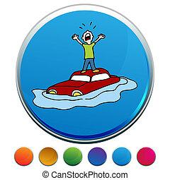 inundado, car, botão, jogo