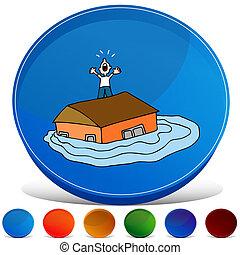 inundado, casa, botão, jogo, gemstone