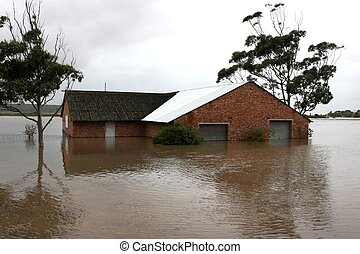 inundado, casa, orilladel río
