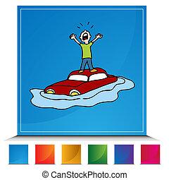 inundado, coche, botón, conjunto