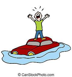 inundado, coche