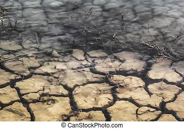 inundado, estéril, agrietado, tierra, superficie