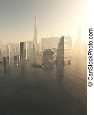 inundado, futuro, ciudad, en, niebla