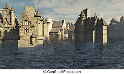 inundado, medieval, cidade