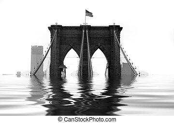 inundado, puente, brooklyn