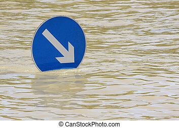 inundado, río