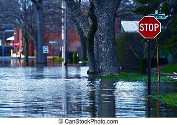 inundado, rua