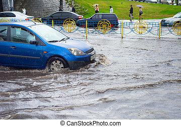inundado, tráfico coche, camino, problem.
