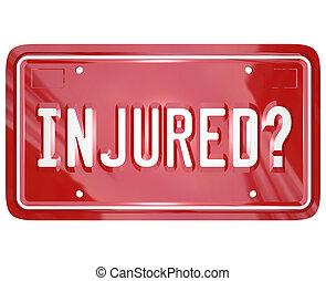 inured, avocat, accident, autoriser plat, voiture, avocat,...