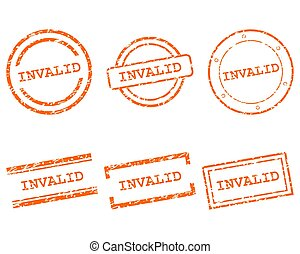 inválido, selos