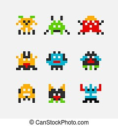invader., pezzo, 8, spazio, mostro, geek, pixel, superhero, straniero, gioco arcade