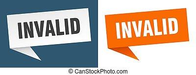 invalid banner sign. invalid speech bubble label set
