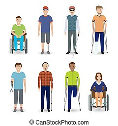 Invalid people concept. Group of eight different kind disability people.