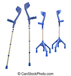 Invalid walking sticks under the light background