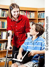 invalide, bibliotheek, -, scholieren