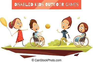 invalide, buiten, spelen, illustratie, geitjes