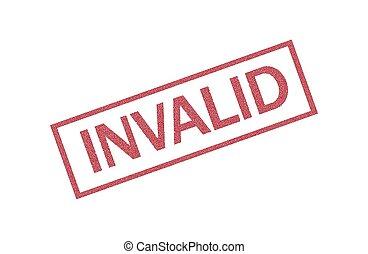 invalide, cachet, timbre, carré rouge, grunge, caoutchouc, fond blanc, mot