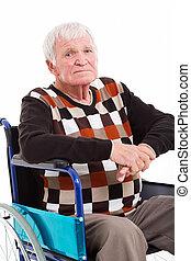 invalide, hogere mens, op, wiel stoel