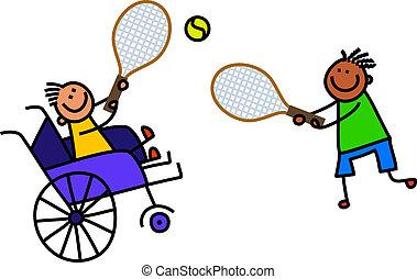 invalide, jongen, toneelstukken, tennis
