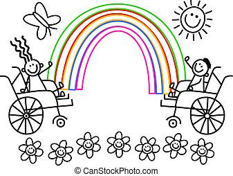 invalide, kleur, geitjes, mij
