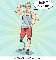 invalide, kunst, been, paralympic, prosthesis., knallen, gehandicapt, athlete., sport., vector, illustratie, man