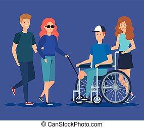 invalide, letsel, besluit, lichamelijk, mensen