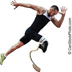invalide, loper, atleet, amputee