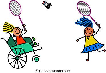 invalide, meisje, badminton, toneelstukken