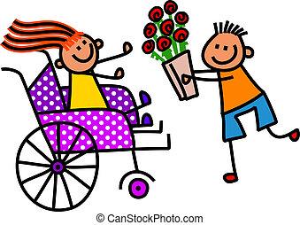 invalide, meisje, krijgt, bloemen