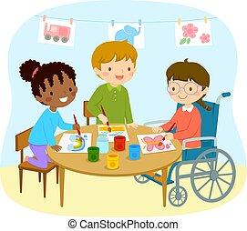 invalide, meisje, tekening, met, vrienden