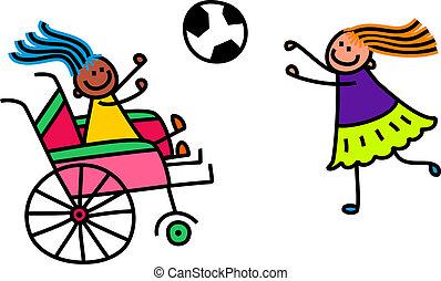 invalide, meisje, voetbal