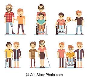 invalide, mensen, en, vrienden, portie, hen, vector, set