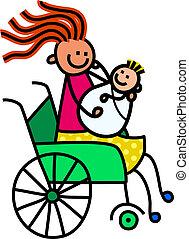 invalide, moeder en baby