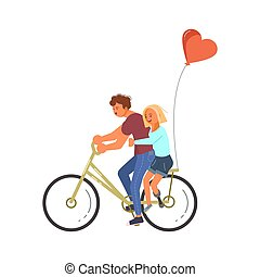 invalide, paardrijden, paar, minnaars, bike.