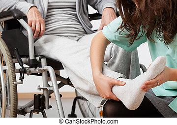 invalide, persoon, rehabilitatie, gedurende