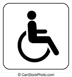 invalide, pictogram, meldingsbord