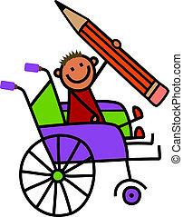 invalide, potlood, jongen