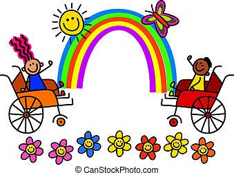 invalide, regenboog, geitjes