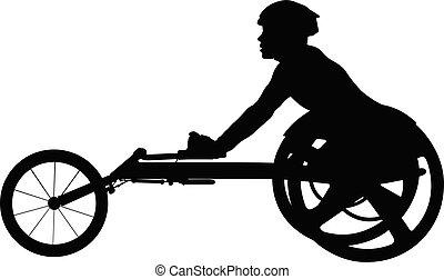 invalide, rolstoel atleet, racer