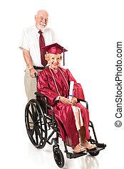invalide, senior, afstuderen, en, echtgenoot