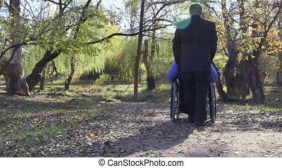invalide, senior, in, wheelchair
