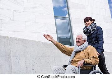 Invalide,  senior, vrolijke,  man