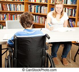 invalide, student, bibliotheek