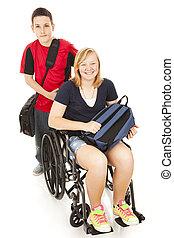 invalide, student, en, broer
