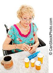 invaliden gemachte frau, nimmt, medizinprodukt