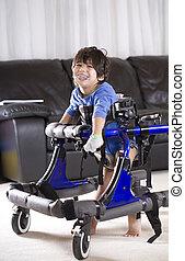 invaliden gemachtes kind, in, gehhilfe