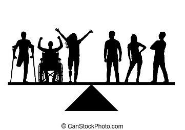invalides, silhouette, gens, sain, droits, égal, vecteur, équilibre