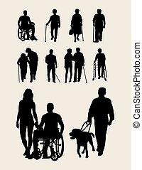 invaliditeter, och, äldre, silhuett