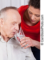 invalido, acqua, infermiera, porzione, bere