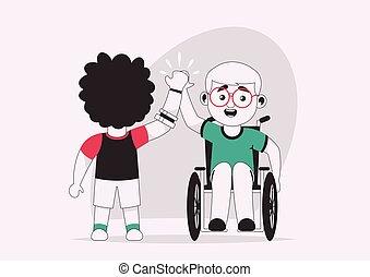 invalido, bambini, altro, vettore, carattere, ciascuno, illustrazione, dare, cinque